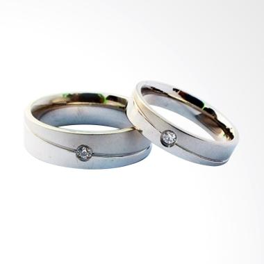 CDHJewelry CC050 Cincin Couple Titanium Anti Karat (Female 6 & Male 7)