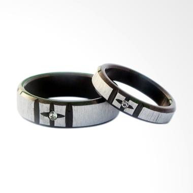 CDHJewelry CC056 Cincin Couple Titanium Anti Karat (Female 7 & Male 7)