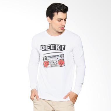 harga Geeky Radio LS T-Shirt Pria - White Blibli.com