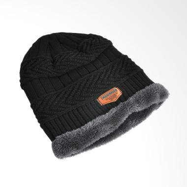 OEM Beanie Wool List Bulu Topi Kupluk - Black