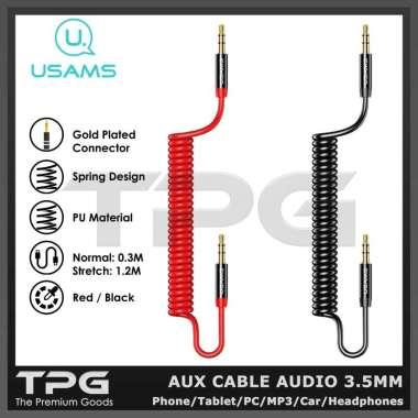 harga USAMS KABEL AUX JACK AUDIO 3.5MM MALE TO MALE CAR HEADPHONE SPEAKER HITAM Blibli.com