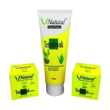 Temulawak Paket V Cream Natural Siang & Malam plus Facial Foam - Yellow Green