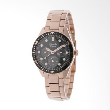 Alexandre Christie ACF 6442 BFBGPBA Stainless Steel Black Dial Jam Tangan Wanita