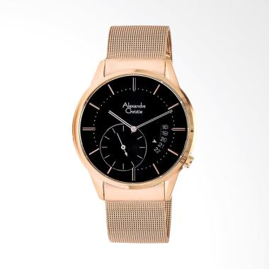 Alexandre Christie Black Dial Stain ... ose Gold ACF-8519-MSBRGBA