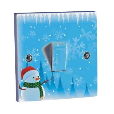 OEM Motif Snowman Natal Saklar Lampu Sticker
