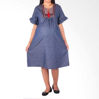 HMILL 1093 Dress Hamil & Menyusui - Biru