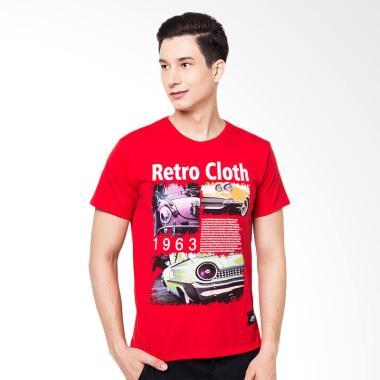 FBW ILSV Retro Car Tee T-Shirt Pria - Merah