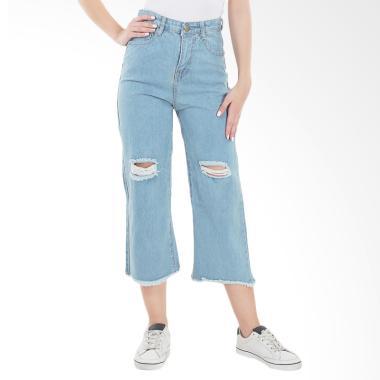 MKY Clothing Knee Ripped Cullote Jeans Celana Wanita