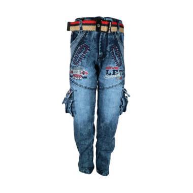 Sanjaya Celana Jeans Panjang Cargo Anak Laki-Laki [Usia 4-5 tahun]