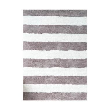 Vision Soft Shaggy Stripes Karpet - Grey White [180 x 270 cm]