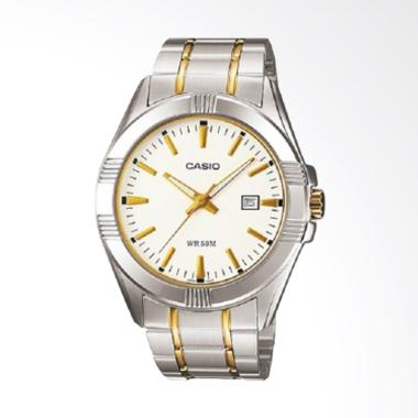 CASIO Stainless Steel Jam Tangan Pria -  Silver Gold MTP-1308SG-7AVDF