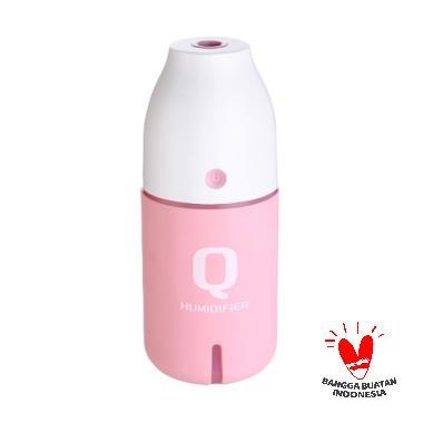 harga TOKUNIKU USB Q Bottle Ultrasonic Air Purifier Aromatherapy Essential Oil Aroma Diffuser Mist Maker Humidifier Portable with LED Light - Pink [150mL] Blibli.com