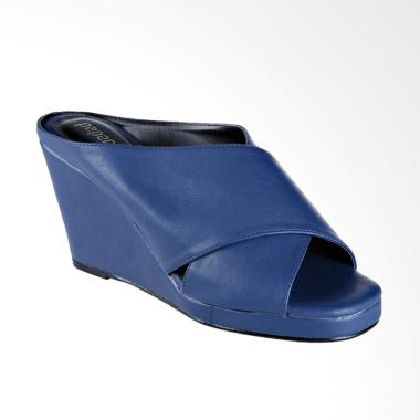 Papercut Shoes AN Leather Wedges - Navy Blue