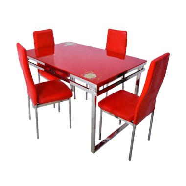 Little Tiger Stainless 4 - II  Set Meja Makan Minimalis - Merah