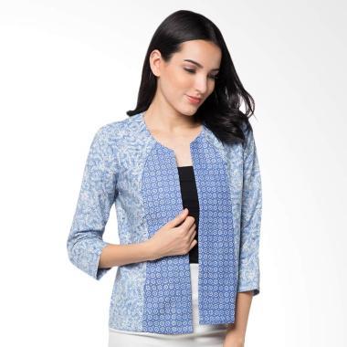 Batik Aksen Tropis Bolero Kombinasi Truntum - Light Blue