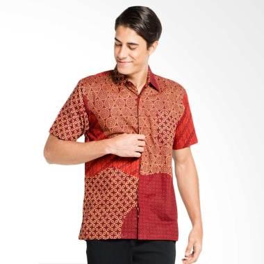 Batik Aksen Tropis Hem Pendek Acak Matahari Kemeja Batik Pria - Red