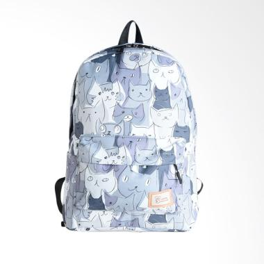 Biubiu Cat Graphic A 80332 Backpack Wanita - Black White