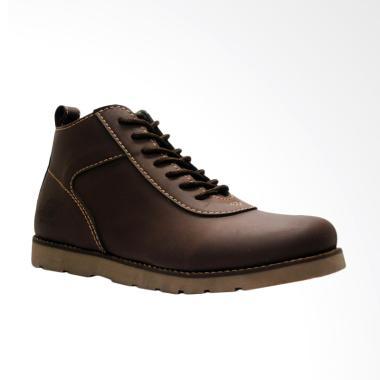 D-Island Shoes Venture Boots Comfort Leather Sepatu Pria - Dark Brown