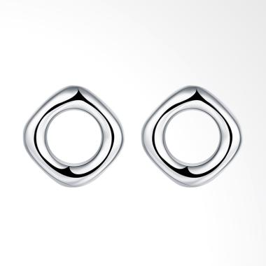 SOXY LKNSPCE016 Four Square Round Simple Earrings - Silver