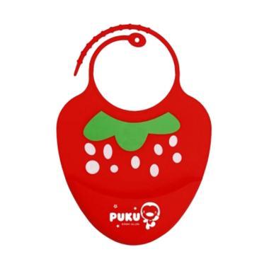 Puku P14204-R Baby Silicone Bib Celemek Bayi - Red