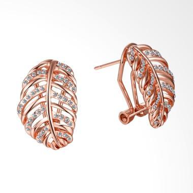 SOXY AKE122 Fashion K Gold Women'S Leaf-Shaped Diamond Earrings