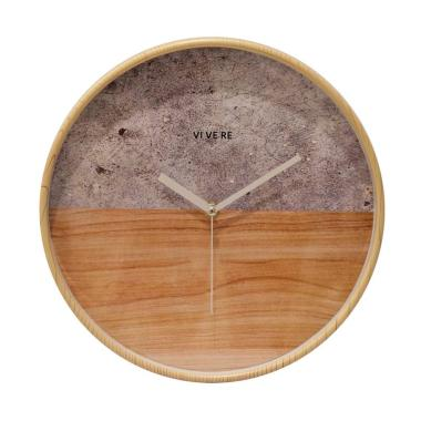 Vivere Wall Clock Stone Wood Jam Dinding - Gray Brown [30 cm]