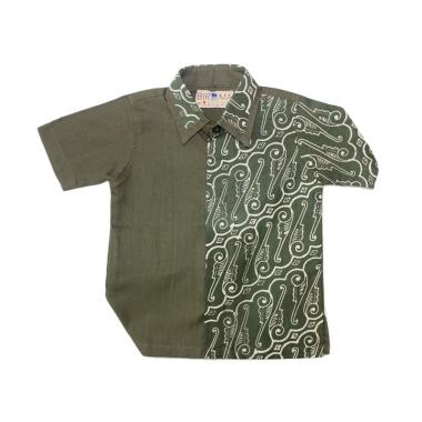 Birama 9135 Kemeja Batik Anak Laki-Laki - Hijau Army