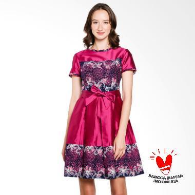 Lombang Batik Rempel Tali Pinggang Dress Wanita - Pink Fanta