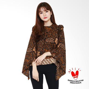 Batik Flike Store Atasan Wanita Mille Crepe Blouse Brown Lovers