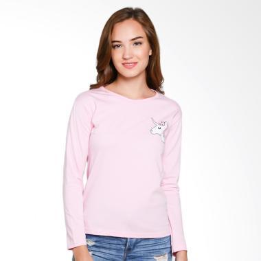 JCLOTHES Kaos Lengan Panjang Wanita Unicorn Mini - Pink