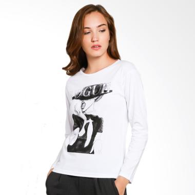 JCLOTHES Kaos Lengan Panjang Wanita Vogue - Putih