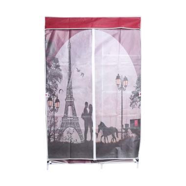 Radysa Lemari Pakaian Portable - Red Paris [2 Layer]