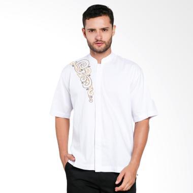 Aitana Bordir Baju Koko Pria - Putih [YN-11701-SS]