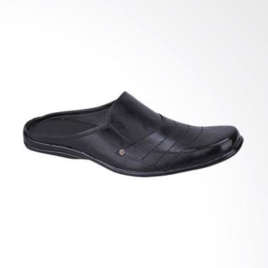 Syaqinah Sandal Sepatu Kulit Casual Pria - Hitam [612]
