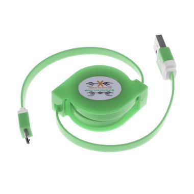 Rhaya Grosir Retractable Full Colour USB Data Cable - Hijau