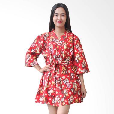 Aily BT023 Kimono with Belt Setelan Baju Tidur Wanita - Merah