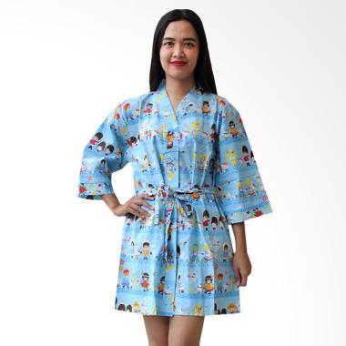 Aily BT026 Motif Hello Kitty Kimono ...  Baju Tidur Wanita - Biru