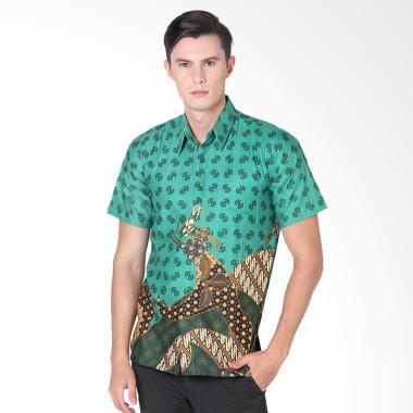 Rianty Batik Hem Alvin Kemeja Pria Lengan Pendek - Green