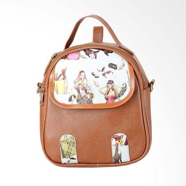 Inficlo [INF-SOR 320] Kasual Backpack Wanita - Coklat