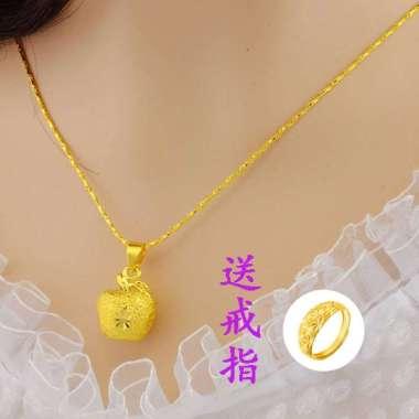 Asli Vietnam 999 tidak akan memudar Thailand 24 k Emas Klavikula Apple Pendant Perhiasan Pasir Emas Couple gift