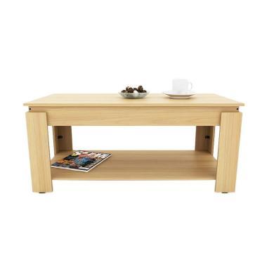 Funika VLCT100 Coffee Table with Rak - Coklat Muda