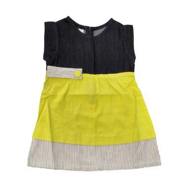 Tiny Button Garis Jeans Dress Anak - Hijau