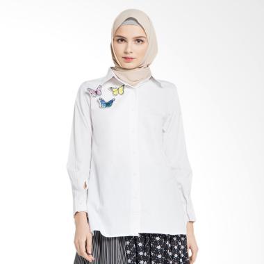 Delarosa Triple Butterfly Top Baju Muslim - White