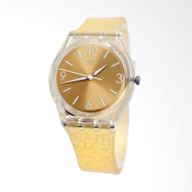 Swatch GE242C Sunblush Analog Tali Silicone Jam Tangan Wanita - Gold