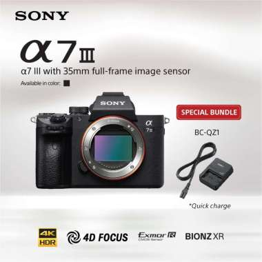 harga SONY Alpha a7III / a7 mark III / ILCE- 7M3 Kit Lensa FE 28-70mm F3.5-5.6 OSS Kamera Mirrorless Full Frame - Hitam bundling BC-QZ1 Blibli.com