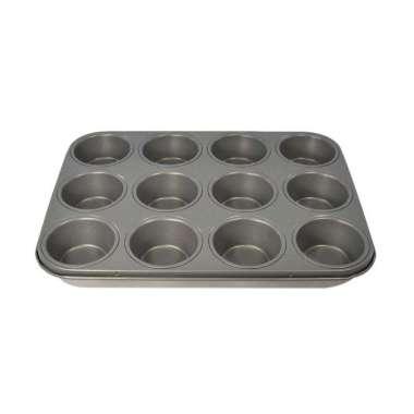 Master Pastry Non-Stick 12 Cup Muffin Pan - Loyang Kue Anti Lengket 100 % ORIGINAL silver
