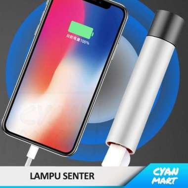 harga Lampu Senter D02 Flashlight LED Mini Rechargeable + USB Powerbank - HITAM-HITAM Multicolor Blibli.com