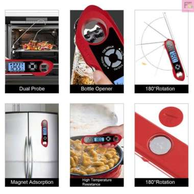 harga HOT 2 In 1 Termometer Daging Makanan Instan Dual Probe Anti Air Den Blibli.com