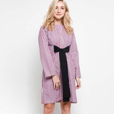 Slovv Stripes Panel Dress PS-MS001D -  White Red Stripes