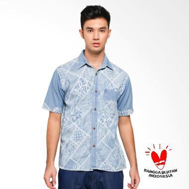 Batik Etnik Denim Shirt Motif Abstrak Kemeja Batik Pria